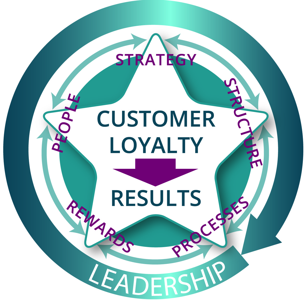 The alignment of people, strategy, structure, processes, and rewards, encompassed by leadership qualities, to produce results.